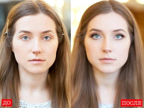 Девушка с коричневыми накладными ресницами: до и после